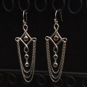 Silpada SS  CZ Cleopatra Chandelier Chain Earrings